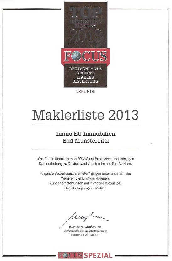 Urkunde 2013 Focus  Beste Makler Deutschlands