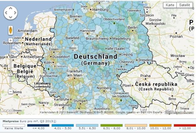 Durchschnittsmietpreise Deutschland 2013 (Quelle: screenshot Immobilienscout24)