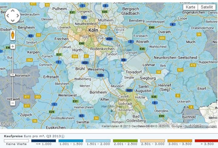 Preisentwicklung für Wohneigentum Köln und Bonn (Quelle Screenshot Immobilienscout24)